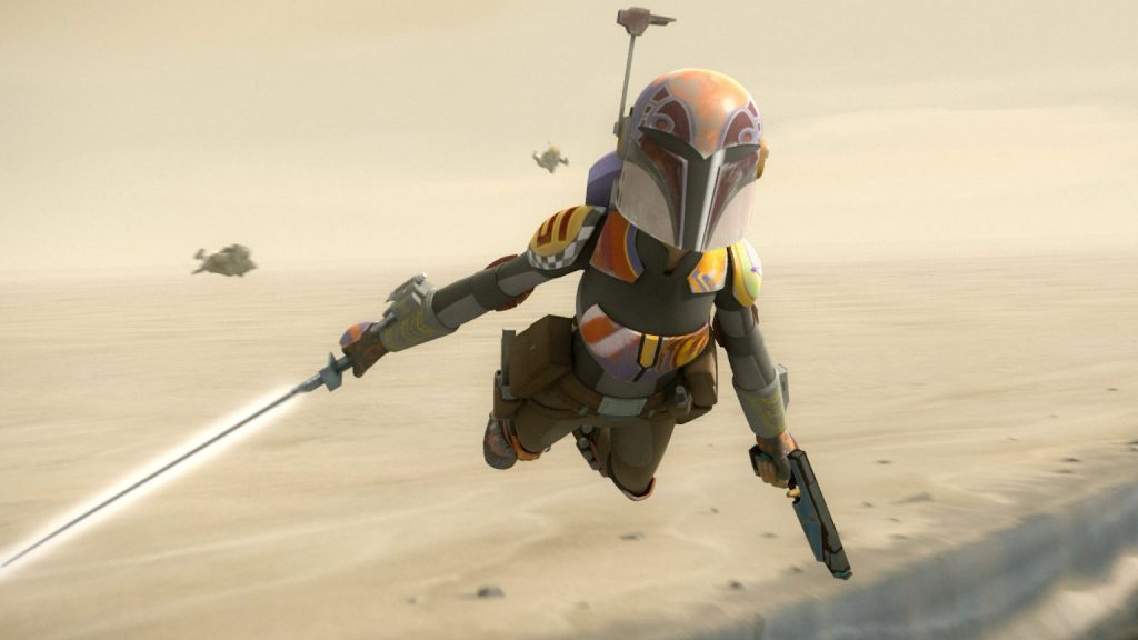 Sabine in flight, holding the Darksaber and a blaster